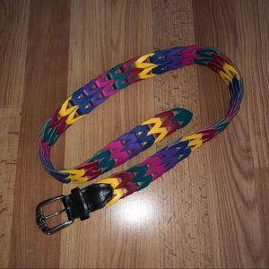 Vintage 90's Genuine Leather Multicolor Belt